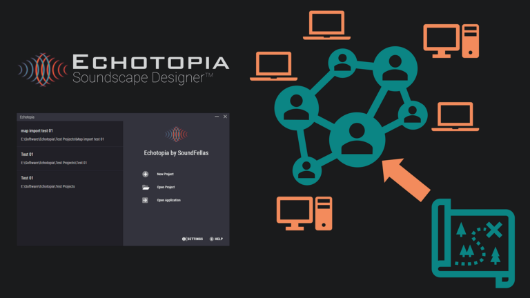 Image of Echotopia project management hub with icons showing map sharing with the community Web.