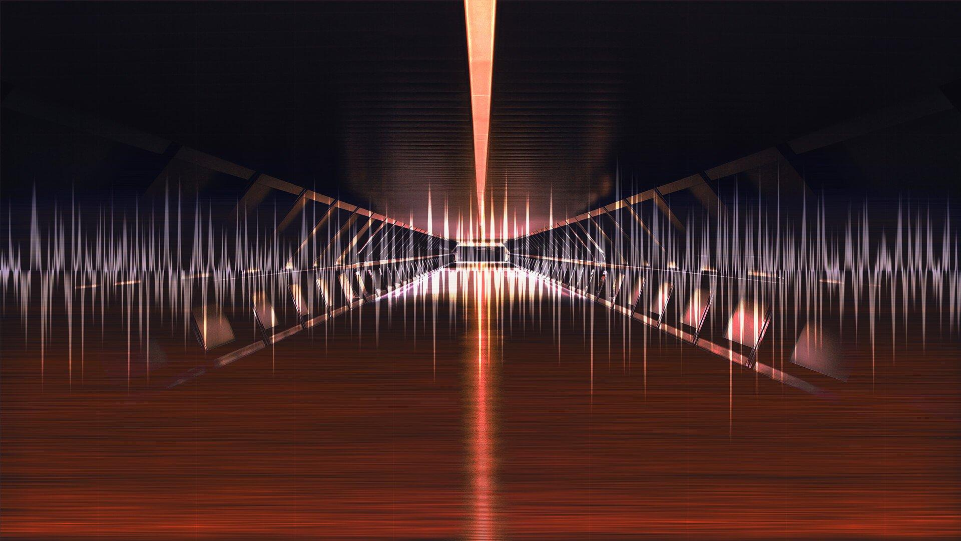 Image of Futuristic building bridge with waveform composite.