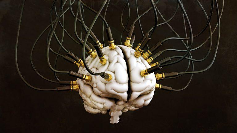 Image of Human brain with audio jacks inserted Web.