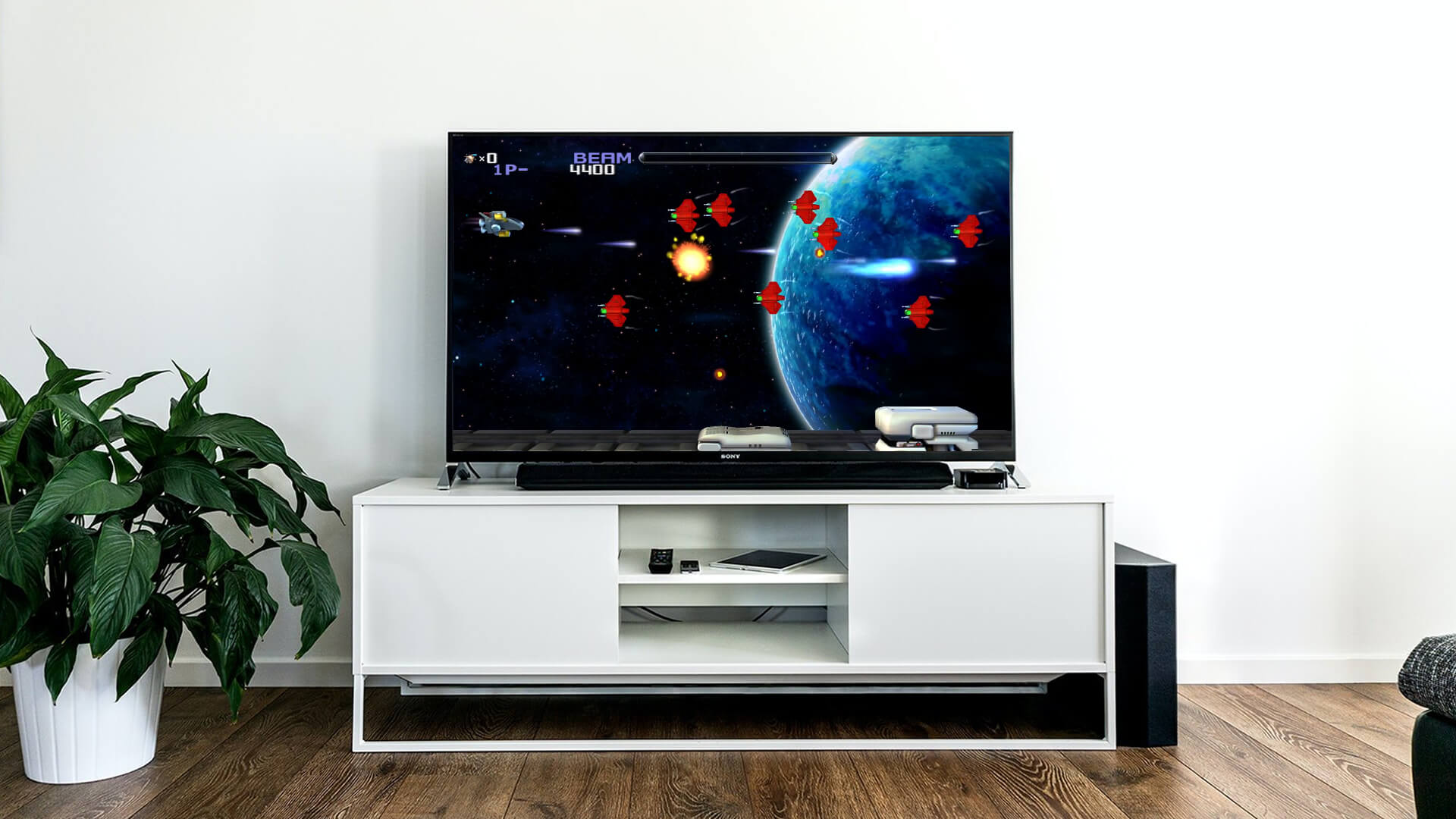 Image of R Type game in modern flat screen TV in living room.