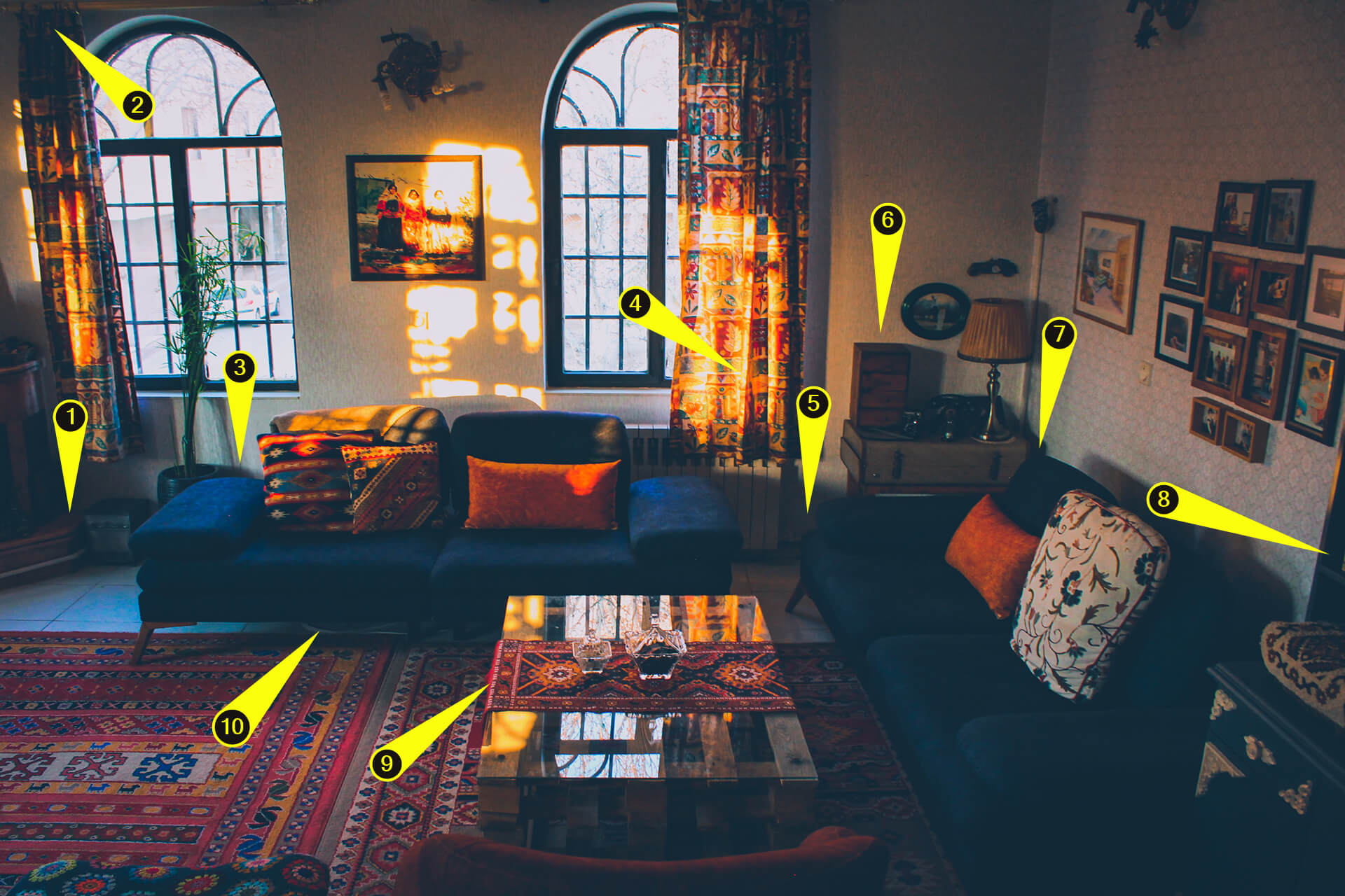 Image of Speaker placement examples on colorful rustik living room.