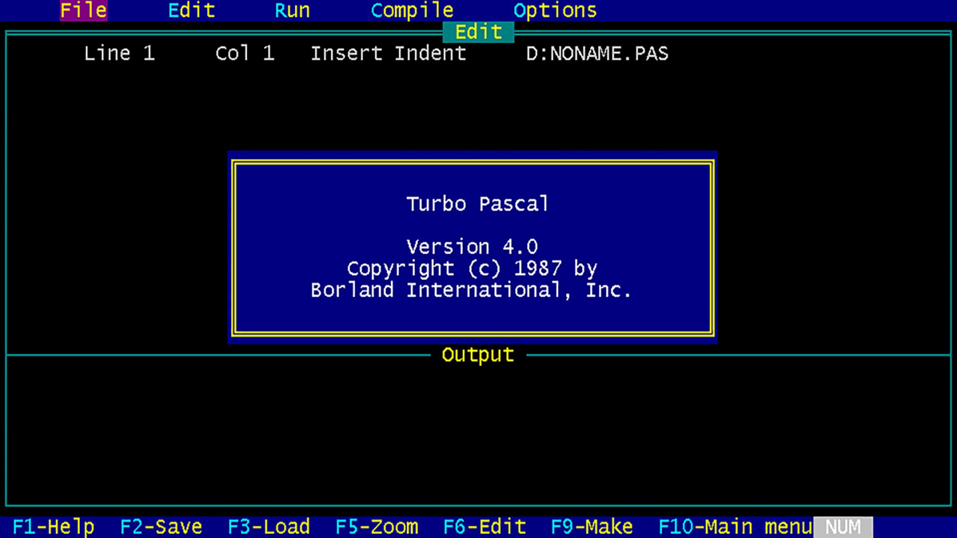 Image of Turbo Pascal Splash Screen Web.